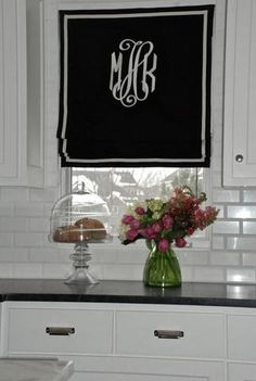Price is $198.00 You Pay Down 1/2 Now and the other half at Shipping $99.00 Canvas Roman Shade in White, Natural, Black or Brown Canvas. Monogrammed and Accent