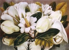 Magnolias 1945 by Frida Kahlo Born: 1907; Coyoacán, Mexico Died: 1954; Coyoacán, Mexico Original Title: MagnoliasRosas Style: Naïve Art (Primitivism) Media: oil, masonite Dimensions: 57 x 41 cm Location: Balbina Azcárraga Collection, Mexico City, Mexico