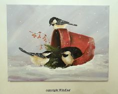 Bird flowerpot painting  art Chickadees in the garden by 4WitsEnd
