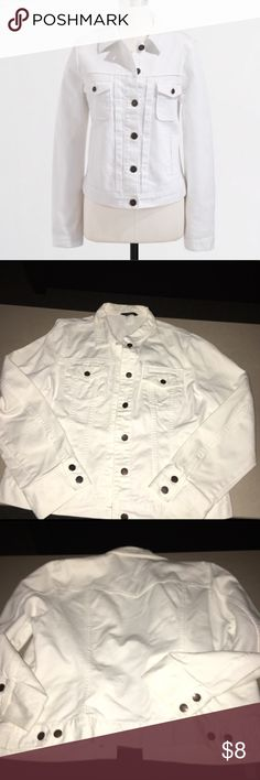 J Crew White Denim Jacket Comfortable fit, great for all seasons. Used, but in great condition! Woman's XL J Crew Jackets & Coats Jean Jackets