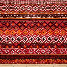 Rayon Jersey Knit Tribal Shapes Red/Black/Orange from @fabricdotcom  This jersey knit fabric has an ultra soft hand, a fluid drape and 40% stretch across the grain. This fabric is perfect for creating stylish tops, tanks, lounge wear, gathered skirts and flowing dresses with a lining.