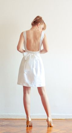 cute white linen dress with bow