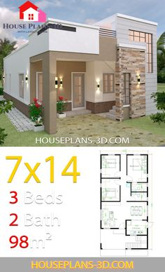 Architectural house plans - House Design with 3 Bedrooms Terrace Roof – Architectural house plans Single Floor House Design, Modern Small House Design, Simple House Design, House Front Design, Minimalist House Design, Duplex House Plans, House Layout Plans, Bungalow House Plans, Three Bedroom House Plan