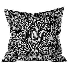 Showcasing an abstract geometric motif in black and white, this eye-catching woven pillow adds a pop of contemporary-chic style to your living room sofa or r...