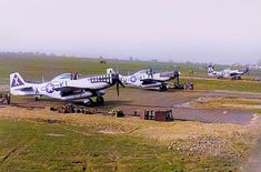 Mustangs of the 55th FS sit in thier revertments await orders to start engines. Ww2 Aircraft, Military Aircraft, Train Truck, P51 Mustang, Ww2 Planes, Us Air Force, Nose Art, Us Army, Military Vehicles