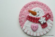Wool Felt Snowman Brooch / Ornament Brooch Pin by WoollyBugDesigns