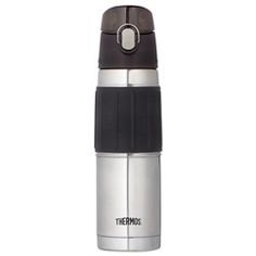 this Thermos Insulated Hydration bottle has a secured cover over the cap.  It is great at keeping water cold on a hot day.  I just wish there was a way to clip it to a bag like the Thermos Intake.