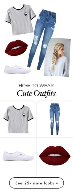 """Cute outfit "" by hayla-demaranville on Polyvore featuring Chicnova Fashion, Lipsy, Vans and Lime Crime"