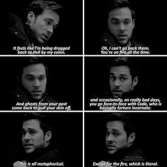 """— [8x13] """"You're on fire all the time"""" I missed him so fucking much"""