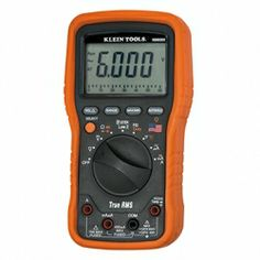 #KleinTools MM6000 Electricians / HVAC TRMS Multimeter (Cat. No. MM6000) – Durable, American-made True RMS Multimeter for accurate readings of all signals. Auto ranging multimeter measures AC/DC voltage (1000V), AC/DC current (10A) and resistance. CAT IV safety rating. Built to endure a 10 ft. drop, double insulated and raised rubber molding boot for increased display protection.