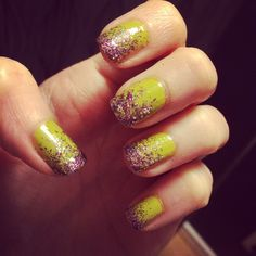 Light green with purple glitter