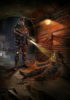 ArtStation - The Dangerous tunnel, Igor Solovyev Art Apocalypse, Apocalypse World, Apocalypse Survival, Metro 2033, Sci Fi Fantasy, Dark Fantasy, Art Fallout, Guerra Anime, Post Apocalyptic Art