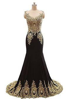Popular Formal Women Long Party Gown Appliques Evening Dresses,Best Selling High Quality Chiffon Robe De Soiree Custom Made Dress Gold And Black Dress, Gold Dress, Mermaid Evening Dresses, Evening Gowns, Evening Party, Prom Dresses 2015, Nice Dresses, Long Party Gowns, Formal Gowns