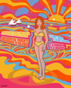 """This part of the Psychedelic Beach Triptych inspired by art from the San Francisco Bay Area, beach party movies and the Beatles song """"Tomorrow Never Knows"""" released in 1966 on the album Revolver. Beatles Songs, The Beatles, Tomorrow Never Knows, Psychedelic Posters, Triptych, Revolver, Beach Party, Bay Area, 1960s"""