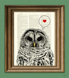 Barred VALENTINE OWL with heart print over an upcycled vintage dictionary page…