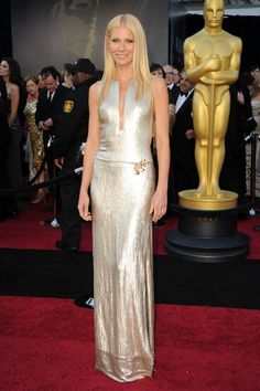 Gwyneth Paltrow 2011 Oscars -- sparkles in a plunging Calvin Klein gown