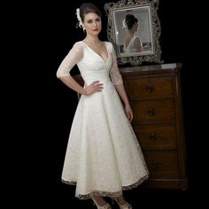 In this post we want to tell you about the Simple tea length wedding dresses with sleeves. See photos of Simple tea length wedding dresses with sleeves, leave your comments and share them with friends. Second Wedding Dresses, Vintage Style Wedding Dresses, Tea Length Wedding Dress, Tea Length Dresses, Wedding Dress Sleeves, Wedding Gowns, Dresses With Sleeves, Lace Wedding, Garden Wedding
