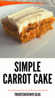 Yummy Carrot Cake is easy to make! It is simple but delicious! A moist carrot cake with a sweet and creamy cream cheese frosting! Carrot Cake Bars, Moist Carrot Cakes, Best Carrot Cake, Easy Cake Recipes, Frosting Recipes, Dessert Recipes, Dessert Ideas, Yummy Recipes, Recipies