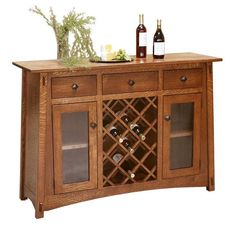 Amish McCoy Mission Bar and Wine Cabinet with Two Glass Doors and Three Drawers Elegant look for your home bar. Amish made with solid wood. Built to last. Customize with choice of wood and stain. #bar #winecabinet