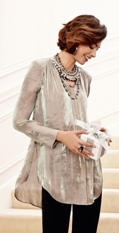 The Iridescent Top: Shine bright in a high-low hem and lavish texture.