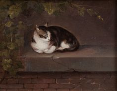 German School - Study of a Cat on a Ledge Beneath Vines - Oil on oak panel - Late 19th century