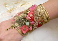 Bracelet cuff textile wrist cuff steampunk jewelry textile jewelry gypsy colorful whimsical jewelry collage mustard fuchsia bohemian fashion. $48.00, via Etsy.
