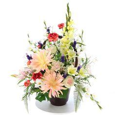 造花ドットコムが製作したアートフラワーのアレンジメント 光触媒造花 3181「flower of moon(月の花)- 茶陶器」