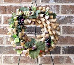Wine Cork Wreath  Centerpiece  Wine Decor  Year by Corkycrafts, $35.00 www.etsy.com/listing/164197098/wine-country-wine-cork-wreath-table?ref=related-0