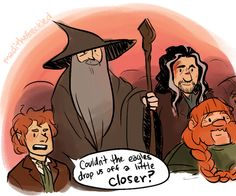 i said this about LotR too!! why couldn't they just have carried them the whole way to mordor.
