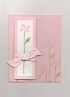 handmade card ... CAS All Occasion Card by monkeymama ... pretty pink card with simple stamped flower on a matted. rectangle ... like the shadow stamped images on the card base ... Stampin'Up!