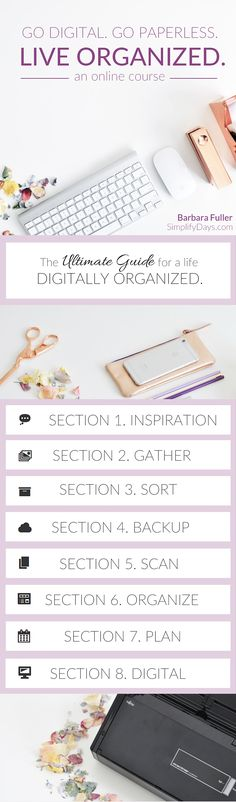 Are you looking for ways to simplify and enjoy life more? Then this course is for you! This is a very detailed online course all about cutting the clutter and getting digitally organized. // SimplifyDays.com