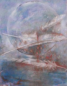 Three of Feathers (=Swords) Margarete Petersen Tarot