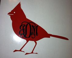 Cardinal monogram decal  Bird lover by NashSignsAndGraphix on Etsy