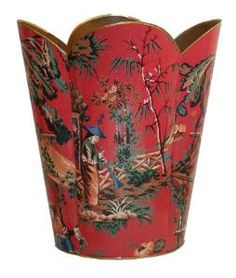 Red Chinoiserie Decoupage Wastebasket and Optional Tissue Box. Product in photo is from www.wellappointedhouse.com