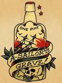 Sailor Jerry Tattoo Flash Ship in Bottle