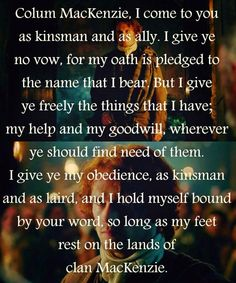 Jamie Fraser's oath of allegiance to his maternal uncle, MacKenzie clan chieftain Colum MacKenzie, during the gathering of the clan. | Outlander S1E4 'The Gathering' on Starz