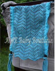 Teal Chevron hand crocheted Tula Hood with matching reach straps by Things From String and AWE BABY BOUTIQUE