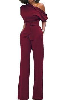 Burgundy Slanted One Shoulder Wide Leg Formal Jumpsuit, Shop for cheap Burgundy Slanted One Shoulder Wide Leg Formal Jumpsuit online? Buy at Modeshe.com on sale! #women'sjumpsuitsclassy