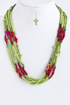 "Lime And Multi Bead Cross Accent Stacked Necklace - Bead and Cross Bead Layered Necklace StarShine Jewelry. $13.00. Lead compliant. Multi bead cross accent necklace. Length approx 21"". Lobster claw clasp with 3"" extender Layered Necklace, Beaded Necklace, Stacked Necklaces, Beaded Cross, Jewelry Sets, Lime, Beads, Colors, Bijoux"