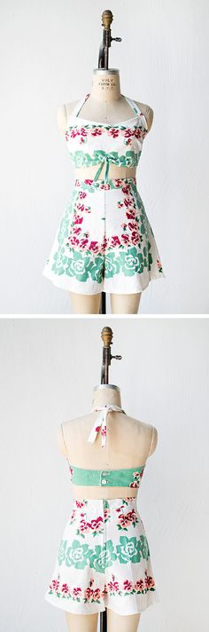 vintage 1940s revival floral playsuit set | Summer Hamptons Playsuit