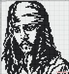 Captain Jack Sparrow graph Pirates of the Caribbean Johnny Depp Cross Stitch Charts, Cross Stitch Designs, Cross Stitch Patterns, Pixel Crochet, Crochet Cross, Perler Patterns, Loom Patterns, Cross Stitching, Cross Stitch Embroidery