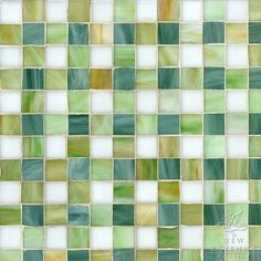 Bonnie, a jewel glass mosaic field shown in Absolute white, Peridot, Jade and Emerald, is part of the Plaids and Ginghams Collection by New Ravenna Mosaics.