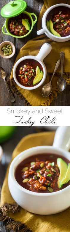 This smokey-sweet turkey chili is an easy, healthy and gluten free weeknight meal that's perfect for cold, winter nights. It's healthy comfort food at it's best!   Foodfaithfitness.com   @FoodFaithFit