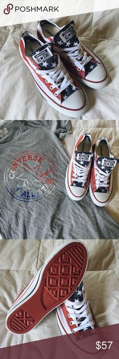 ✨$45 SHIPPED✨American Flag Converse American Flag Converse - brand new, never worn converse #chucktaylors with an american flag graphic. red, white, and blue with white laces and red bottoms. size 7.5 women's 5.5 men's. Chucks run a half size large so these will fit a size 8. unisex. #godblessamerica #chucks #america #fourthofjuly #USA Converse Shoes Sneakers