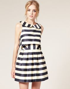 asos stripe dress / with a cropped overlay and full skirt