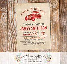 Vintage Dark Red Vroom Vroom Antique Car on Brown Linen Birthday invitation - Baby Shower invitation - choose accent color - old car by NotableAffairs