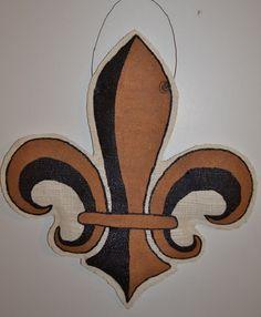 Fleur de Lis Hand Painted Burlap Door or Wall by BurlapandStuff, $25.00