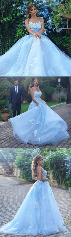 Light Blue Evening Dress,Lace Appliques Prom Dress,Elegant Bridesmaid Dress,Long Formal Gowns,Prom Dresses 2018