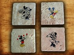 Disney mickey mouse four set coaster natural stone,retro Tumbled Travertine,beer coaster print,home decor,retro coaster,mickey mouse coaster