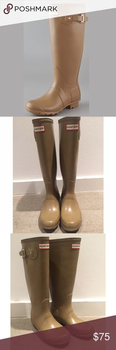 Like New Hunter Tall Rainboots Tan w Gold Buckle Women's Hunter Original Tall Rainboots. Tan with gold buckles. Originally retailed for $165. Barely worn (3 to 5 times) with no visible signs of aging or wear (see photos). Selling for a closet cleanout -- these are beautiful boots that I barely wore because I moved shortly after purchasing and it doesn't rain much where I am. Size UK3, US5, EU35. 15 inch boot shaft, ~1 inch heel. Hunter Shoes Winter & Rain Boots